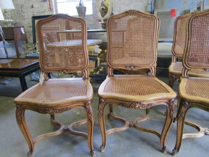 SET OF SIX ANTIQUE FRENCH PROVINCIAL WALNUT CANED CHAIRS