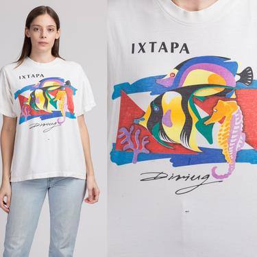 80s Ixtapa Mexico Tropical Fish Diving T Shirt - Large | Vintage Distressed White Graphic Tourist Tee by FlyingAppleVintage