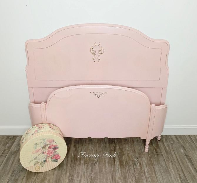 Pink Vintage Curved Footboard Bed by ForeverPinkVintage