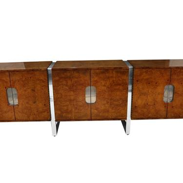 Mid Century Burl Walnut Brushed Chrome Sideboard Buffet Pace Collection by Marykaysfurniture