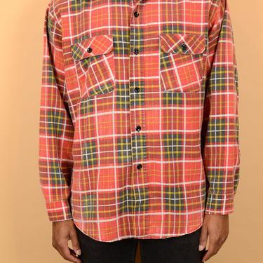 Vintage 70s Red Flannel Button Down Shirt XL Large Oversize by MAWSUPPLY