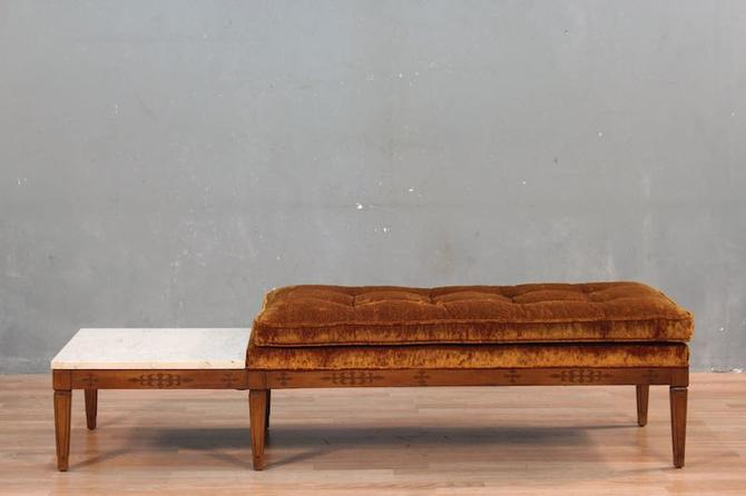 Mid Century Amber Bench with Built-In Marble Side Table – ONLINE ONLY
