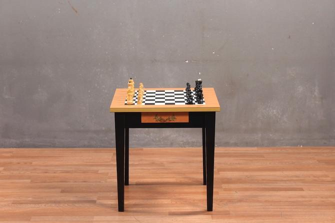 Mid Century Chess Table with Chess Set