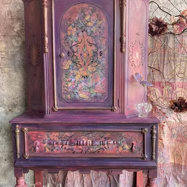 Painted Armoire Wardrobe Cabinet Bohemian Chic ~ Vintage Boho Armoire Cabinet ~ Bedroom Room Cabinet ~ Painted Furniture ~ Painted Dresser by DareToBeVintage