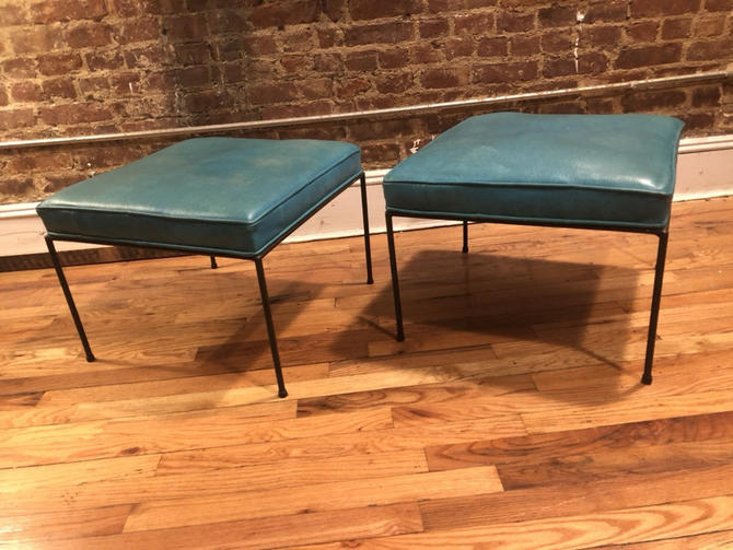 """Mid century pair of paul Mccobb stools 20"""" x 20"""" all original perfect vintage condition beautiful teal upholstery bench stool by symmetryvintage"""
