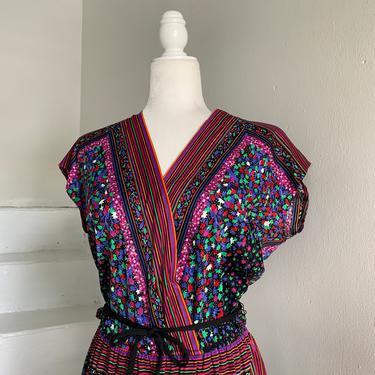 Sexy 1970s Dress Nylon Jersey Floral and Stripe Belted Elastic Waist Medium Vintage by AmalgamatedShop