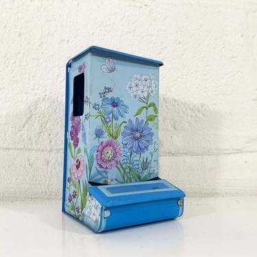True Vintage Flower Metal Match Safe Holder Floral Pink Blue White Green Mid-Century Tin Butterfly Flowers Jasco Kitsch Kitchen Kawaii Cute by CheckEngineVintage