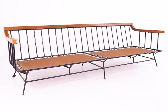 Richard McCarthy for Selright Mid Century Walnut and Wrought Iron Sofa - mcm by ModernHill
