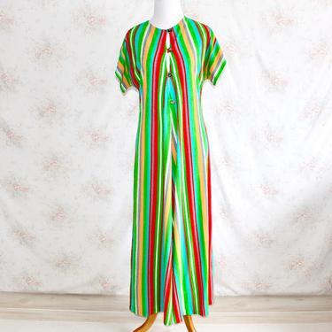 Vintage 70s Terry Cloth Dress, 1970s Striped Dress, Rainbow Dress, Lounge Dress, Maxi Dress, Candy Stripe, Vacation Dress by WildwoodVintage