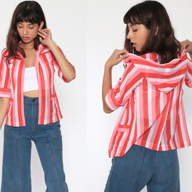 Sheer Hooded Shirt Red Striped Blouse 70s Hippie Shirt Bohemian Top Open Front Jacket Thin Hood Boho 1970s Hoodie 3/4 Sleeve Extra Small xs by ShopExile