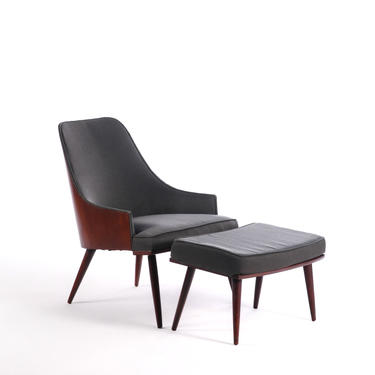 Walnut Bentwood Back Lounge Chair and Ottoman in the Manner of Milo Baughman by ABTModern