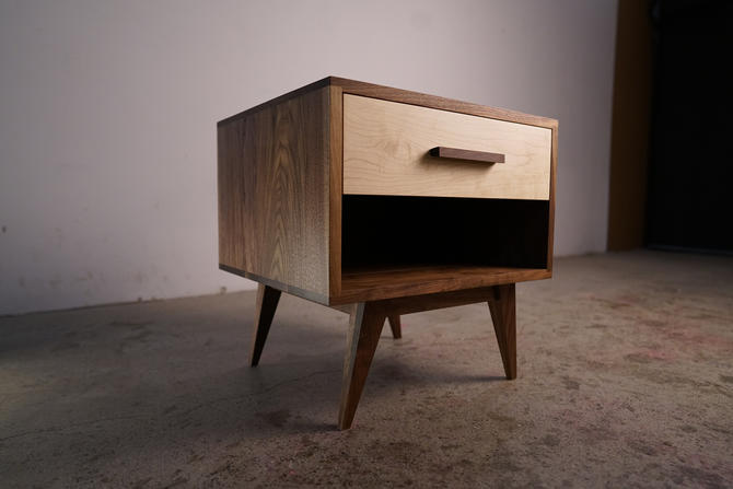 Moline Nightstand, Mid Century Nightstand with Drawer, Solid Hardwood Modern Side Table (Shown in Walnut + Maple) by TomfooleryWood