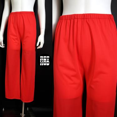 Comfy Cool Vintage Red Nylon Lightweight Pajama Loungewear Pants by RETMOD