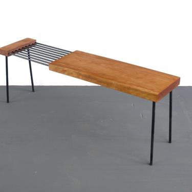 Atomic Mid Century Modern Coffee Table / Bench in Butcher Block and Metal by ABTModern