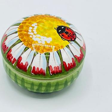 """Vintage Dipinto a Mano Deruta Trinket Box Ceramic Lady Bug on a Sun Flower- Italy- Chip Free- 2"""" by JoAnntiques"""