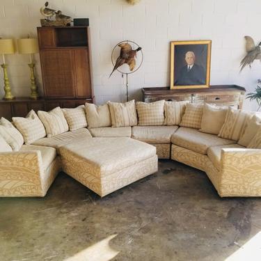 1970s Selig Monroe Curved Back Modular sofa and Ottoman
