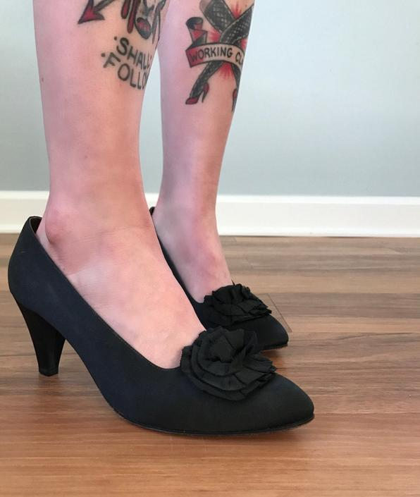Vintage 60s Black Satin Pumps by SpeakVintageDC