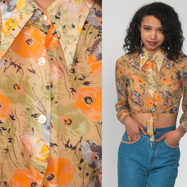Orange Cropped Shirt FLORAL Blouse Crop Top Bohemian TIE WAIST Button Up 70s Top Boho Print Hippie 1970s Hippie Long Sleeve Small by ShopExile