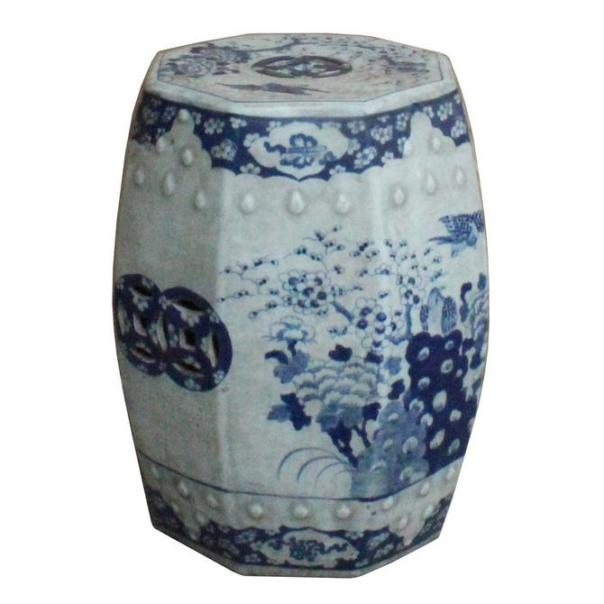 Chinese Blue & White Porcelain Scenery Octagon Stool Table cs3874S