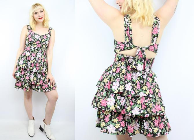 b4ba6b4f85b8 Vintage 80's 90's Dark Floral Ruffle Tiered Mini Dress ...