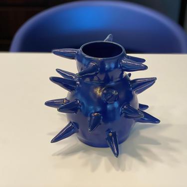 Blue Ceramic Thorn Vase - Unique Handmade Pottery in Stoneware by BirdstoneCeramics
