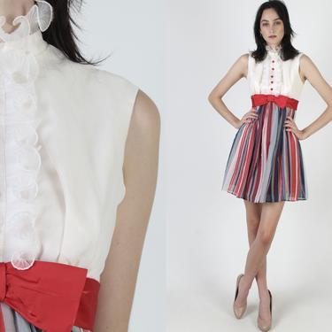 70s Red White Blue Dress / Americana Striped Full Skirt / Mod Tuxedo Ruffle Bodice / Vintage 60s Parade Zip Up Mini Dress by americanarchive