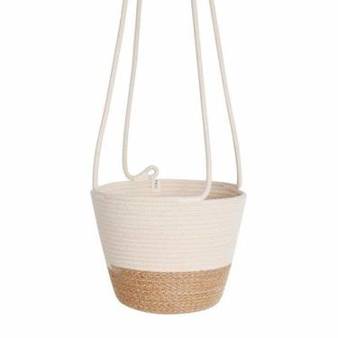 Hanging Cotton Rope Planter - Jute And Cream Block