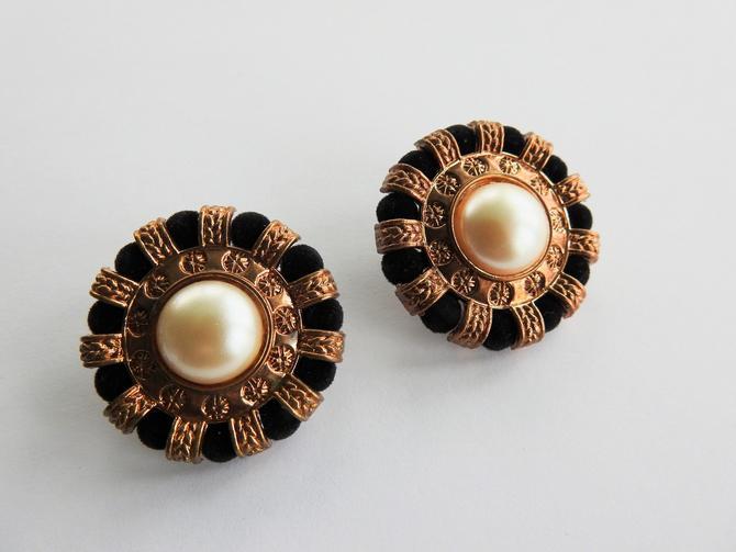 Large Black Velvet Gold Tone Earrings by LegendaryBeast