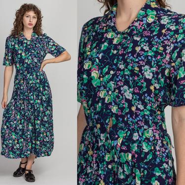 Vintage Blue & Green Floral Grunge Dress - Large   80s 90s Button Up Short Sleeve Collared Maxi by FlyingAppleVintage
