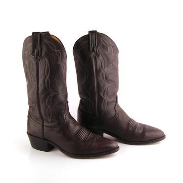 Vintage Cowboy Boots 1980s Dan Post Dark Burgundy Leather Men's  size 9 1/2 by purevintageclothing