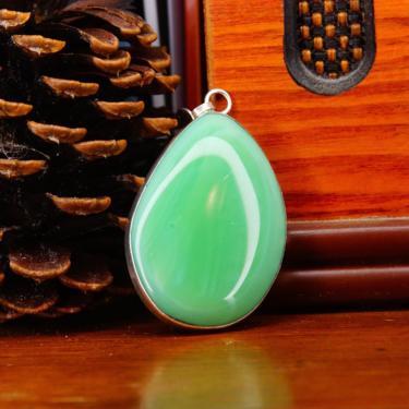 "Vintage Silver Aventurine Teardrop Necklace Pendant, Large Semi-Translucent Green Gemstone, Minimalist Silver Open Back Setting, 2"" L by shopGoodsVintage"