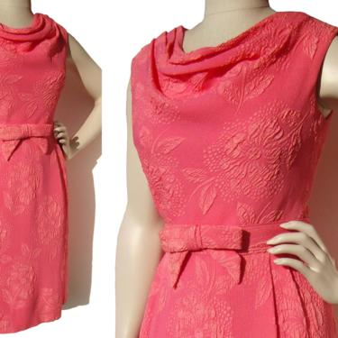 Vintage 60s Pink Dress Floral Jacquard M / L by MetroRetroVintage