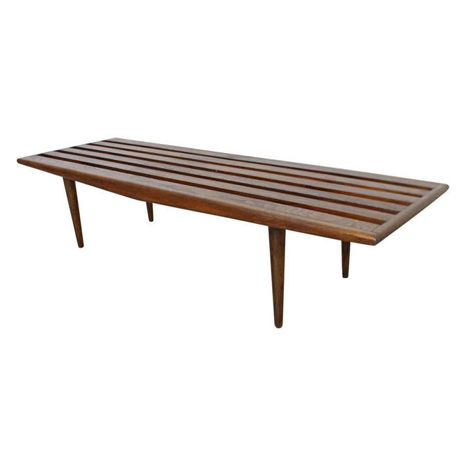 Vintage Mid-Century Danish Modern Sculpted Low Slat Bench Coffee Table by AnnexMarketplace