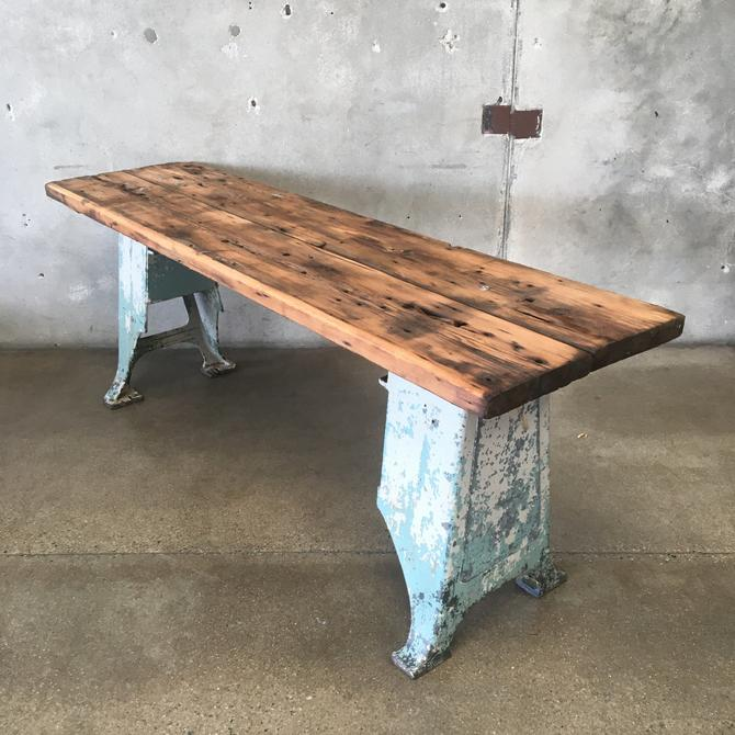 Industrial Console Table on Cast Iron Legs