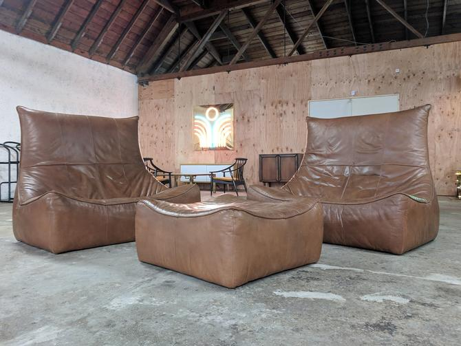 "Vintage Caramel Leather 3 Piece ""Rock"" Sofa Set by Gerard Van Den Berg for Montis by TheHuntVintageLA"