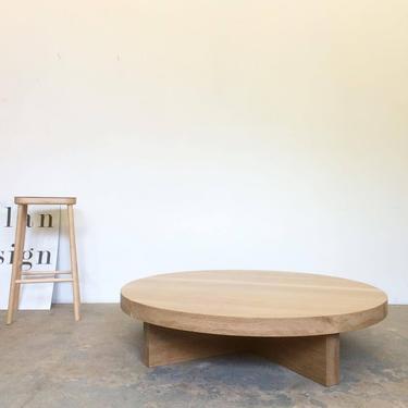 Custom White Oak Coffee Table Round - Free Shipping by OlivrStudio