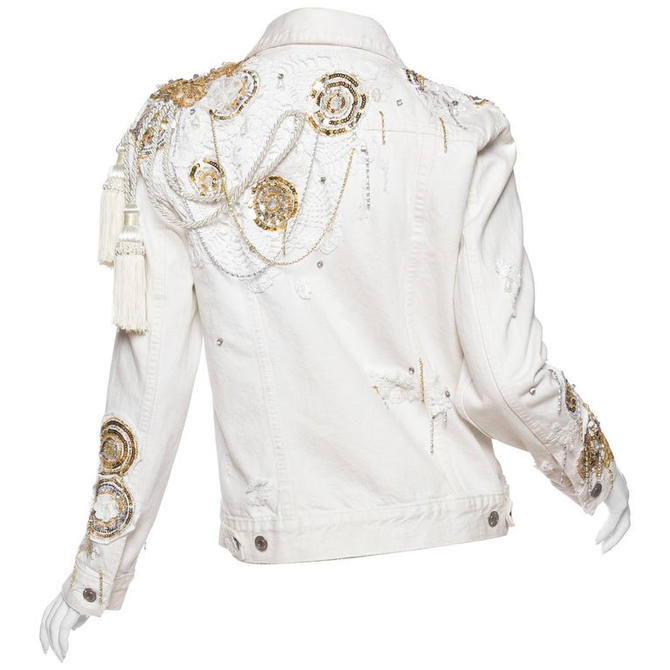 Morphew Collection X Unleashed White Cotton Denim Gold Sequin, Lace  Crystal Embellished Jean Jacket by SHOPMORPHEW