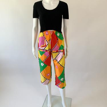 1980's Colorful Cropped Easy Pants