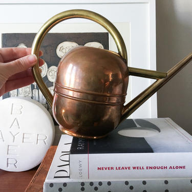 Walter von Nessen designed Art Deco 1930s copper watering can Brass and copper marked Chase by CaribeCasualShop
