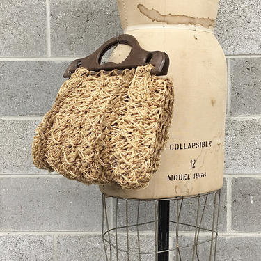 Vintage Top Handle Bag Retro 1970s Purse + Handmade + Woven Twine + Beige and Brown + Wood Handle + Purse + Clutch + Womens Accessory by RetrospectVintage215