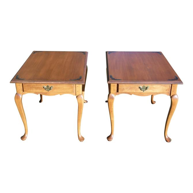 Vintage Pair L. Hitchcock Autumn Harvest Stenciled End Tables Nightstands