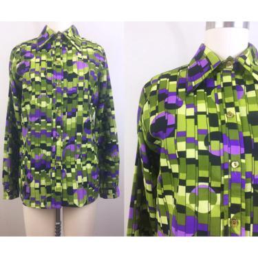Vintage 70s Op Art Pixel Ladies Shirt Psychedelic Blouse 1970s M by FlashbackATX