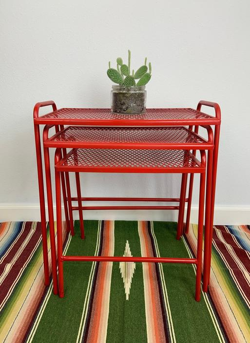 Mid Century Set of 3 Salterini for Rid-Jid Style Mesh Metal Nesting Tables by DesertCactusVintage
