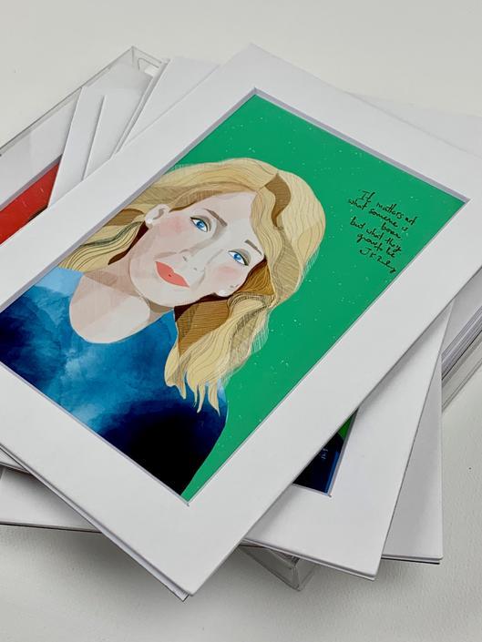 WRITERS SET- Mini Prints - Maya Angelou-  Isabel Allende-  JKRowling- Emily Bronte- Simone de Beauvoir- Virginia Woolf- fan art by VioletredStudio