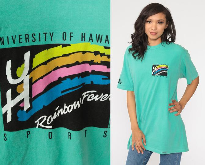 University Of Hawaii Shirt 90s Rainbow Fever Shirt University Hawaii Tshirt College Shirt Graphic T Shirt Retro Tee Vintage Medium Large by ShopExile