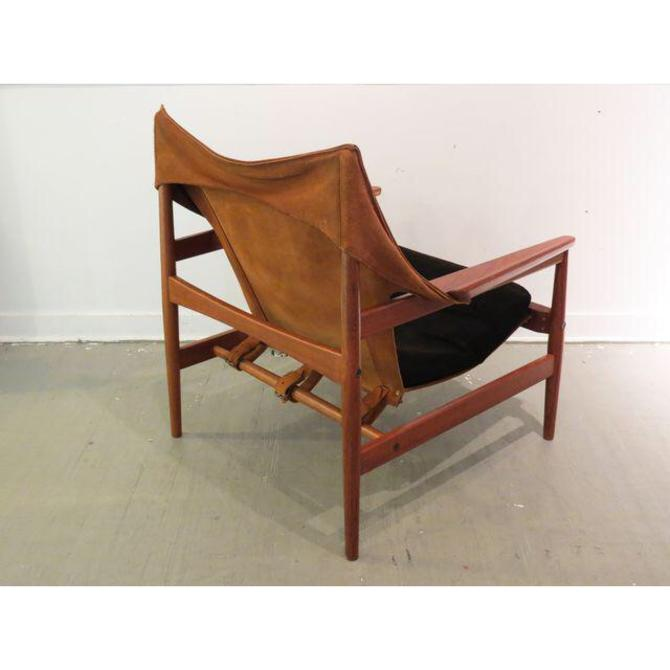 Rare Hans Olsen Danish Teak Sling Lounge Chair