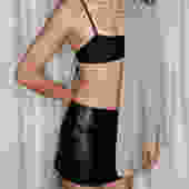 Vintage Faux Leather Super Mini Skirt