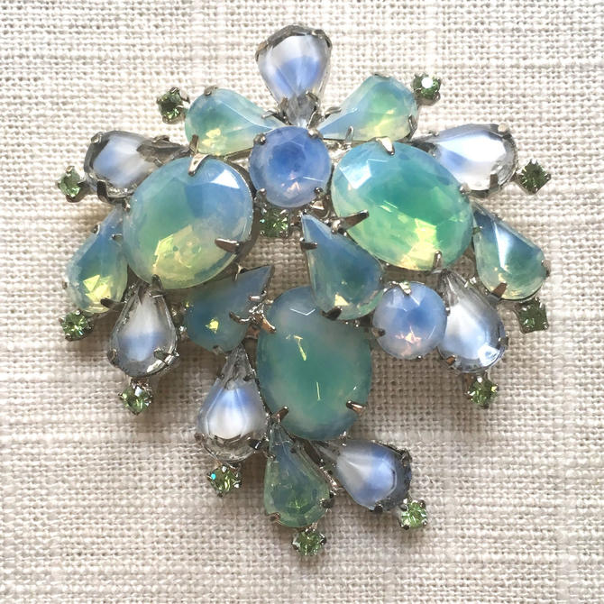1950s Blue & Green Rhinestone Brooch by nonasuch