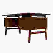 Teak 6 Drawer Executive Desk w/ Drop-Down Storage + Shelves