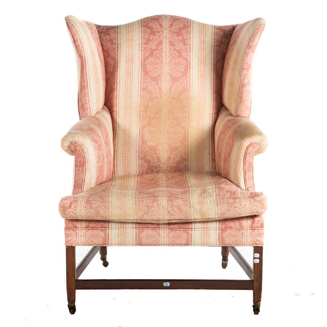 Federal Mahogany Upholstered Wing Chair